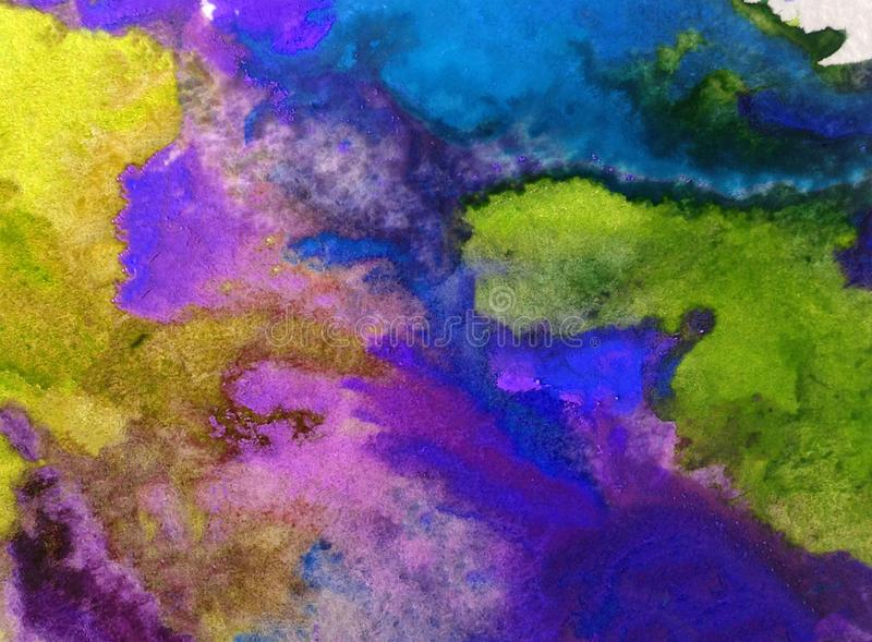 Watercolor art background abstract colorful textured wet wash blurred sea ocean. Art abstract background extrudet watercolor . wet wash blurred colorful handmade royalty free stock photo