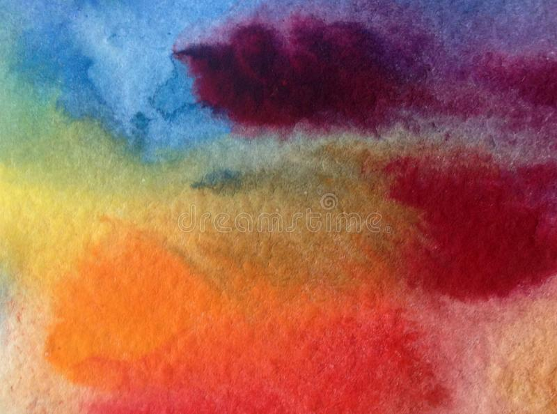 Watercolor art background abstract dye sky clouds sunset violet yellow orange blue colorful textured wet wash blurred. Art abstract background executed vector illustration