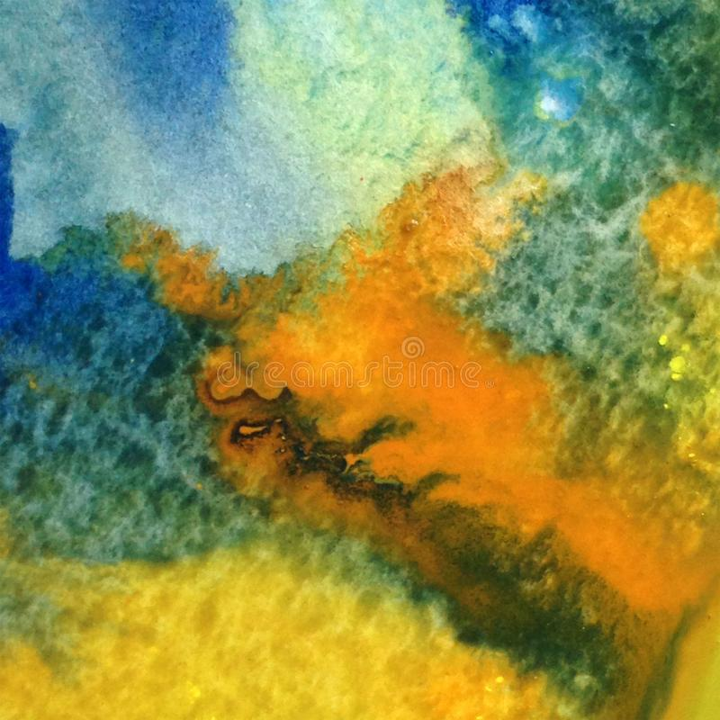 Free Watercolor Art Background Abstract Sea Coast Map Colorful Textured Wet Wash Blurred Fantasy Stock Images - 111810054