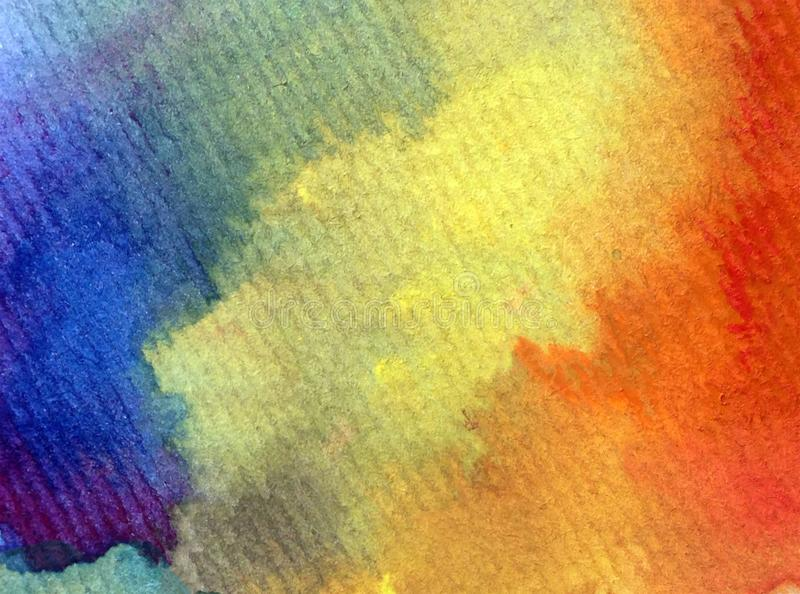 Watercolor art background abstract sky rainbow happy colorful blue indigo violet textured royalty free stock image