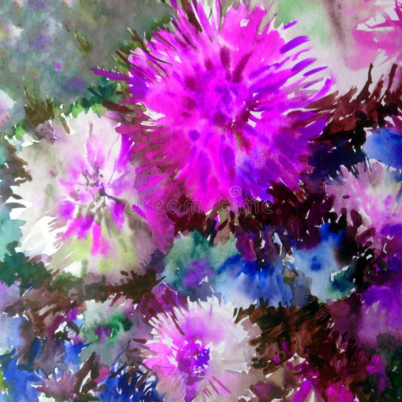Watercolor art background colorful flowers big bouquet dahlia white blue violet. Art background extruded watercolor. textured wet wash blurred brush wallpaper stock illustration