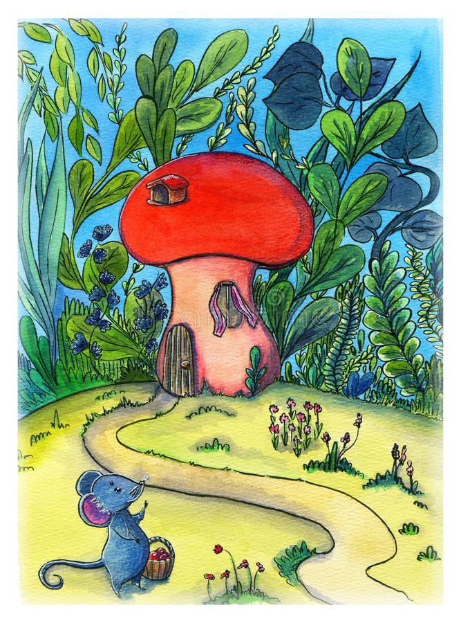 Watercolor art, children`s illustration about little mouse with her mushroom house surrounded by tall green grass. vector illustration