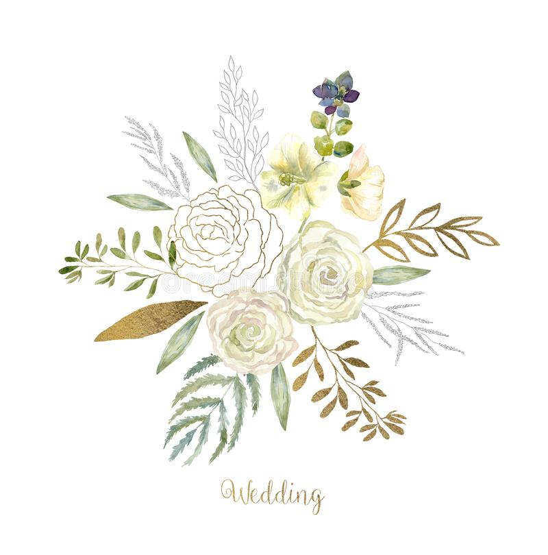 Watercolor art with fresh flower bouquet for wedding. stock illustration