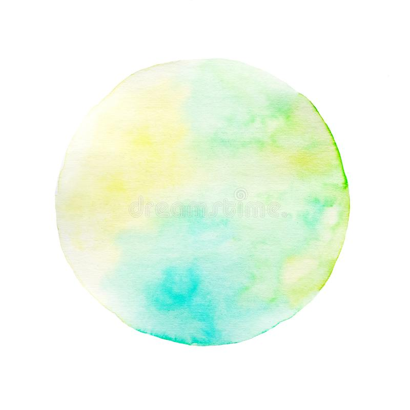 Watercolor art illustration background, Yellow, green and blue circle shape watercolor panting design textured on white paper royalty free stock images