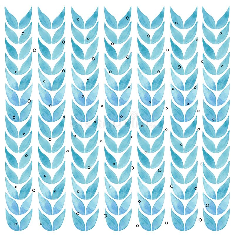 Watercolor art print with tropical  floral striped pattern blue leaves. Watercolor illustration art print with floral pattern royalty free stock images