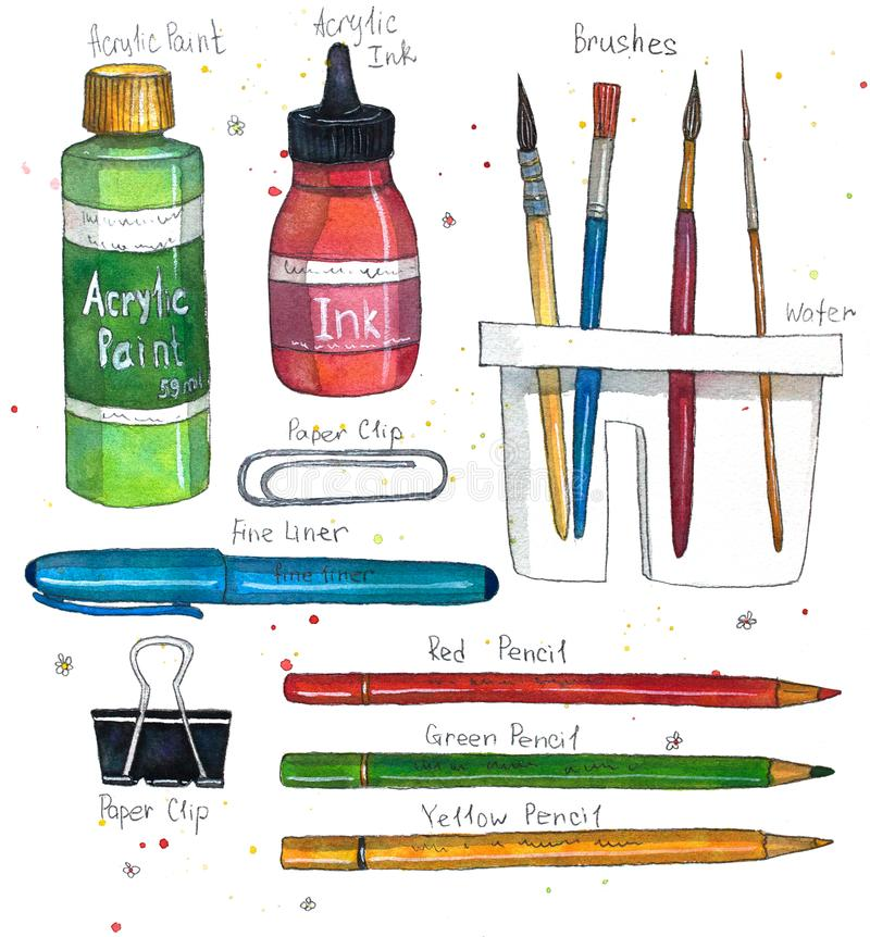 Watercolor art supplies brushes, paper clip, pencils, acrylic ink and paint, brush washer. Hand drawn watercolor illustration stock illustration