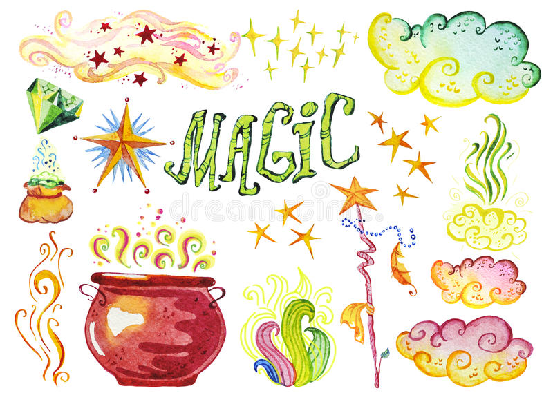 Watercolor artistic collection of magic hand drawn elements design isolated stock illustration