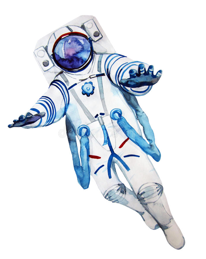 Watercolor Astronaut In A Spacesuit Stock Illustration ...