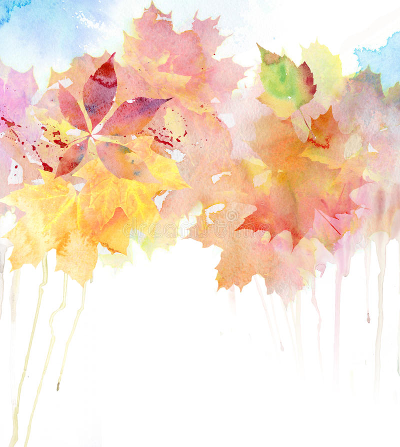 Watercolor autumn background. royalty free illustration