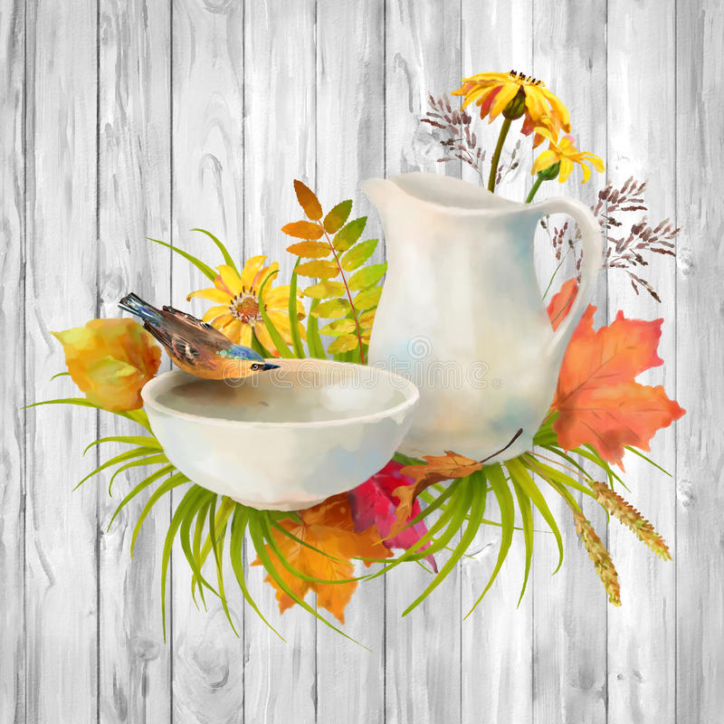 Watercolor Autumn Composition stock photo