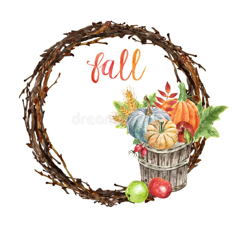 Fall wreath with pumpkins, autumn leaves, apples, wheat, berries, in a bushel basket, isolated. Autumn greetings stock image