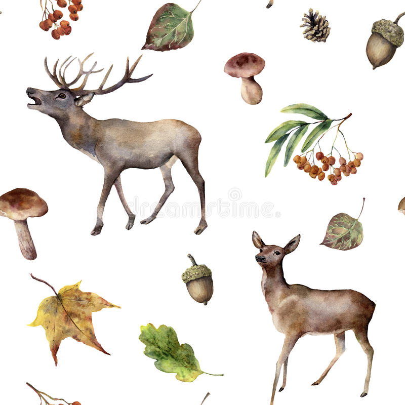 Watercolor autumn forest seamless pattern. Hand painted ornament with deers, rowan, mushrooms, acorn, fall leaves royalty free illustration
