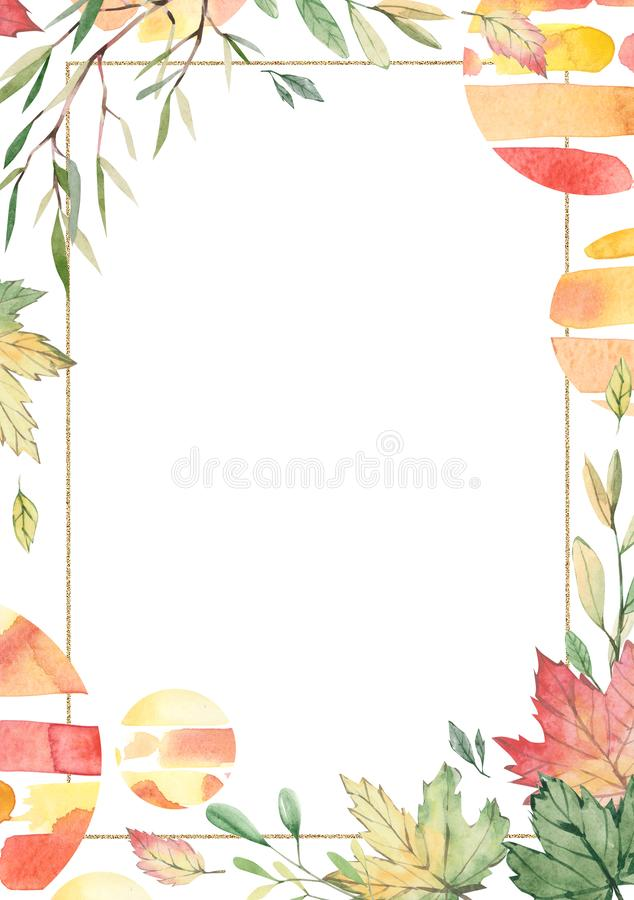 Watercolor autumn frame with branches and leaves isolated on white background. Botanic composition for greeting cards, wedding inv stock illustration