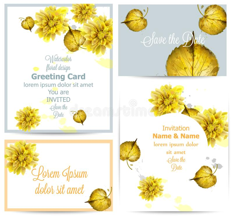 Watercolor autumn golden leaves card set Vector. Vintage greeting cards, invitation, thank you, save the date postcard. Fall seaso stock illustration