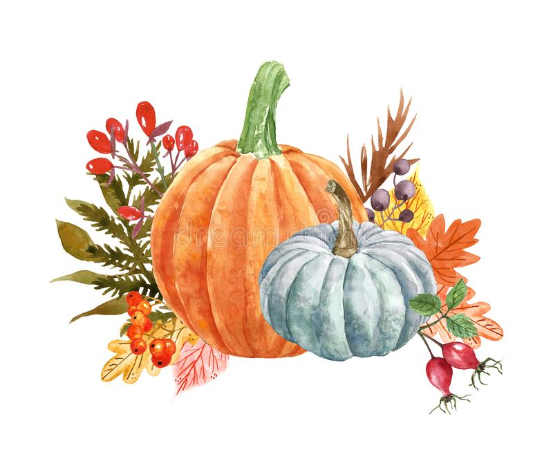 Watercolor festive pumpkins composition, isolated on white background. Autumn harvest, fall ripe orange vegetables, leaves royalty free illustration