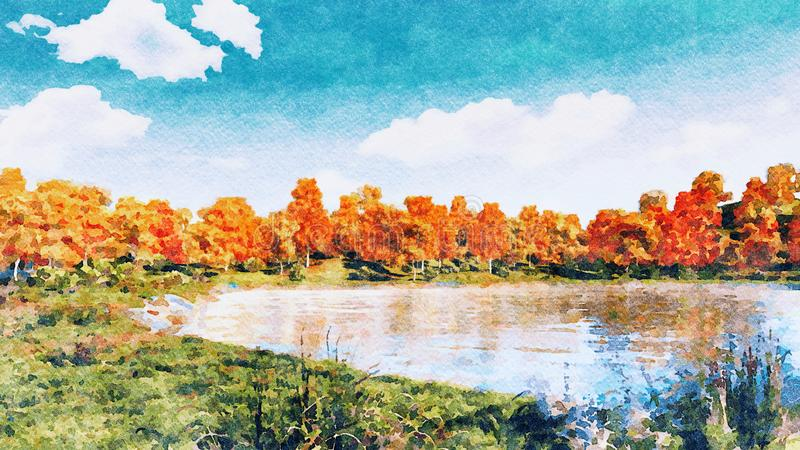 Watercolor autumn landscape on a forest lake shore stock illustration