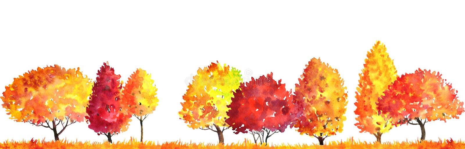 Watercolor autumn landscape with trees. Watercolor autumn landscape with deciduous trees, bushes and grass, abstract nature background, forest template, yellow royalty free illustration
