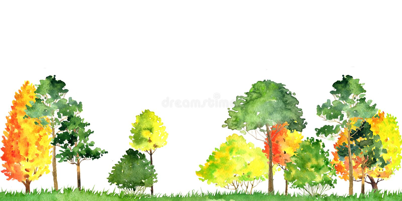 Watercolor autumn landscape with trees stock illustration
