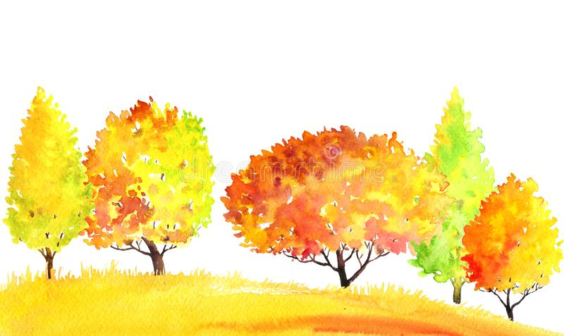 Watercolor autumn landscape with trees. Watercolor autumn landscape with deciduous trees, bushes and grass, abstract nature background, forest template, yellow stock illustration