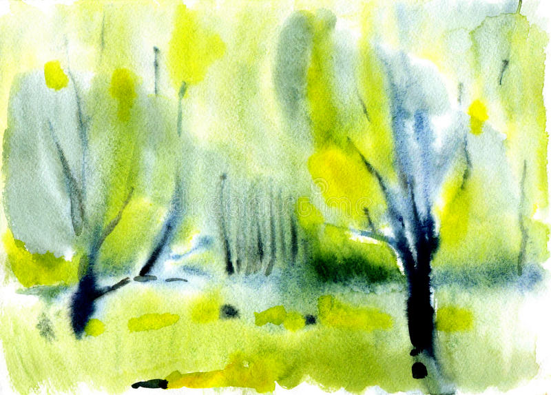 Watercolor autumn landscape stock image