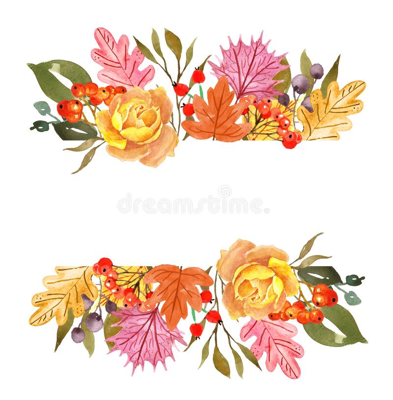 Watercolor autumn leaves and plants banner, isolated on white background. Fall floral border for cards, invitations. royalty free illustration