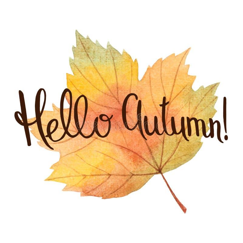 Watercolor autumn leaves stock illustration