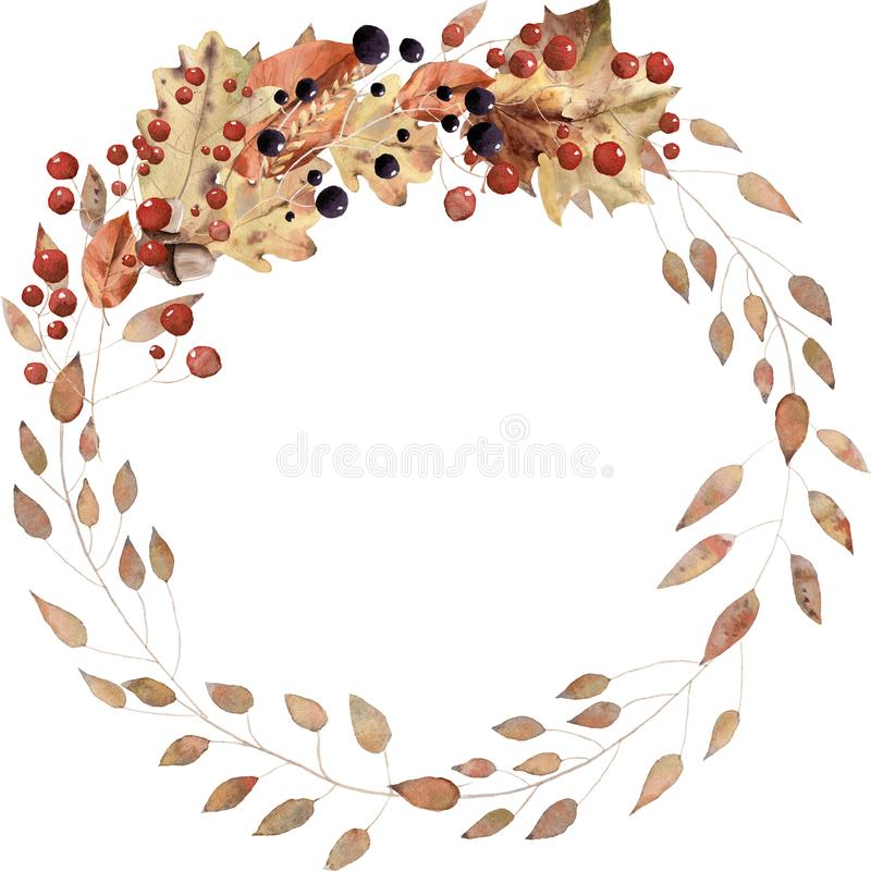 Watercolor autumn leaves wreath hand painted royalty free illustration