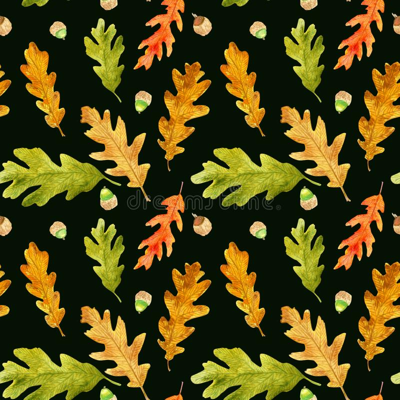 Watercolor autumn oak leaves seamless pattern on black royalty free stock image