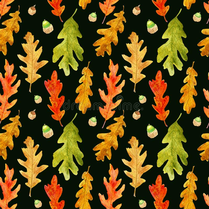 Watercolor autumn oak leaves seamless pattern on black royalty free stock images