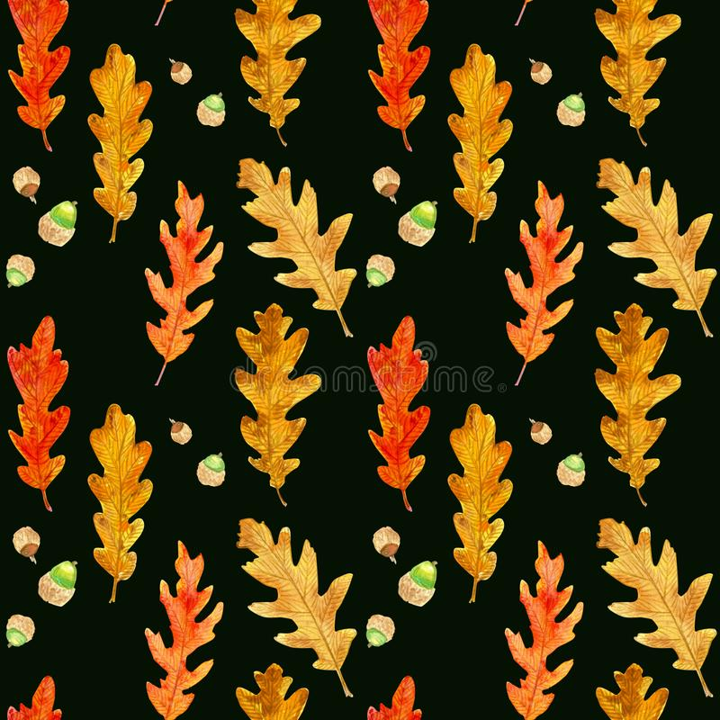 Watercolor autumn oak leaves seamless pattern on black stock photo