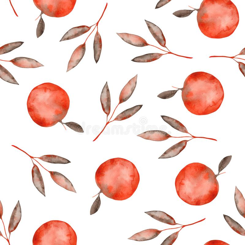 Watercolor autumn pattern with orange brown leaves and twigs, apples. Ideal for cards and invitations royalty free illustration