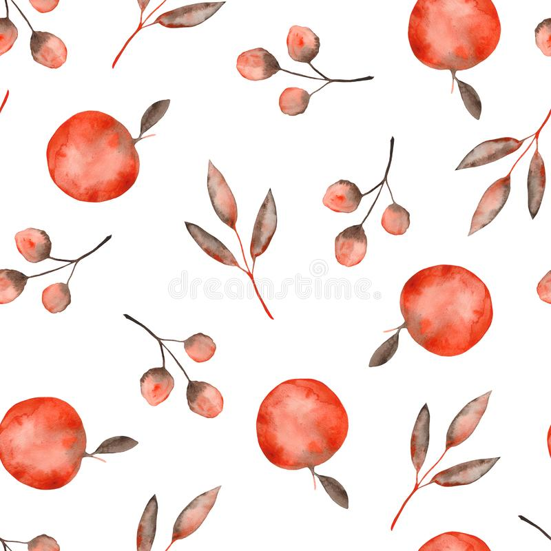 Watercolor autumn pattern with orange brown leaves and twigs, apples. Ideal for cards and invitations vector illustration