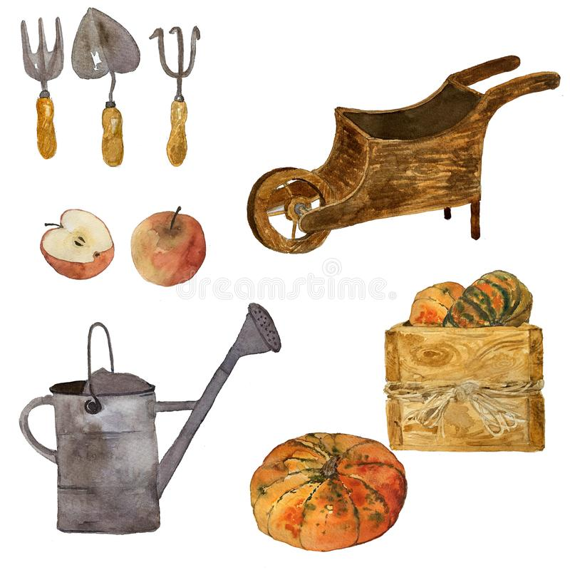 Watercolor gardening set ofsun flowers, watering can, garden instruments and wooden tray stock illustration