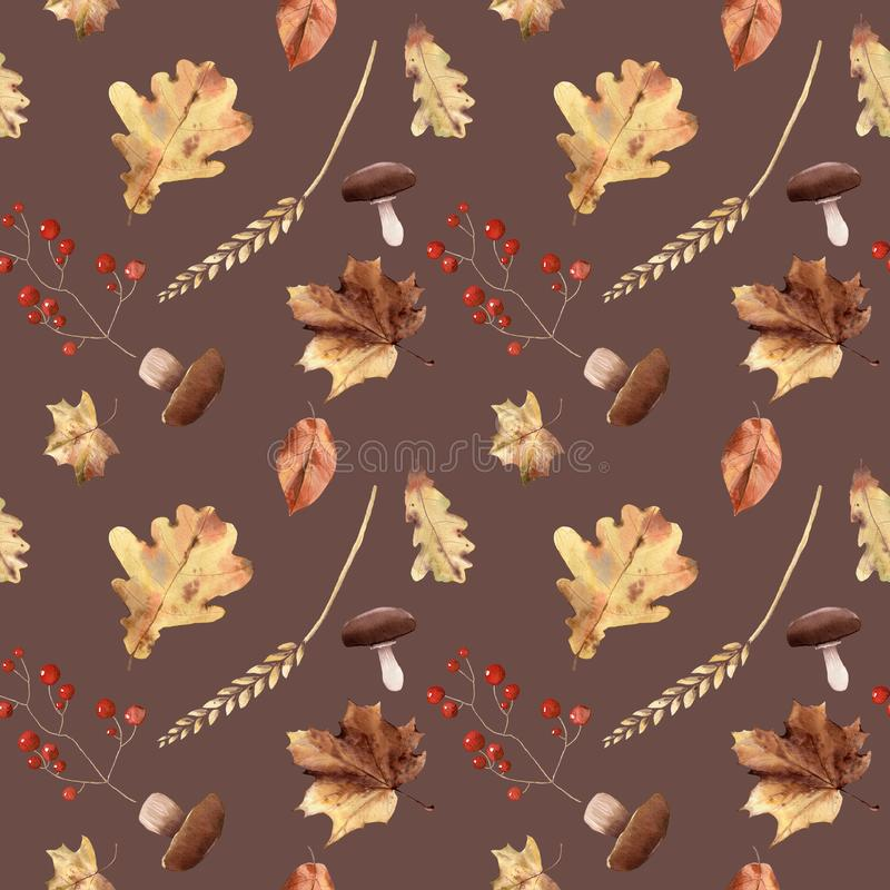 Watercolor autumn seamless pattern hand painted leaves thanksgiving holiday vector illustration