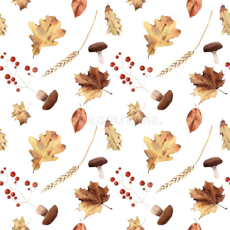 Watercolor autumn seamless pattern hand painted leaves thanksgiving holiday royalty free stock photography