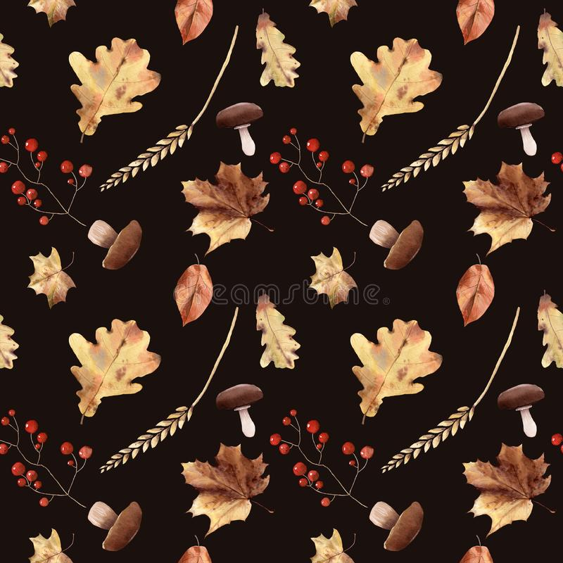 Watercolor autumn seamless pattern hand painted leaves thanksgiving holiday stock illustration