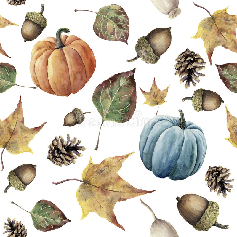 Watercolor autumn seamless pattern. Hand painted pine cone, acorn, berry, yellow and green fall leaves and pumpkin ornament vector illustration