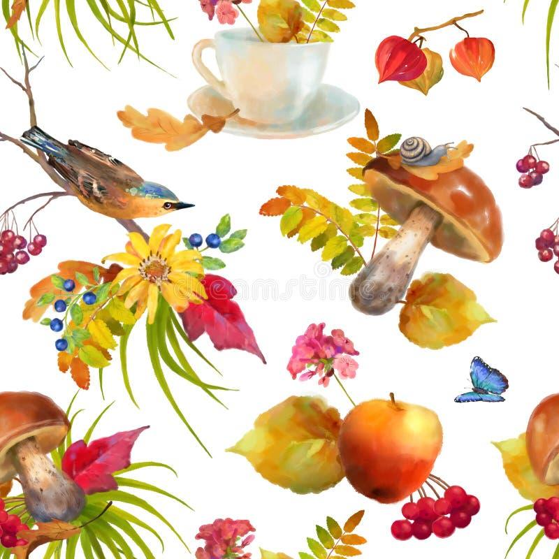 Watercolor Autumn Seamless Pattern stock illustration