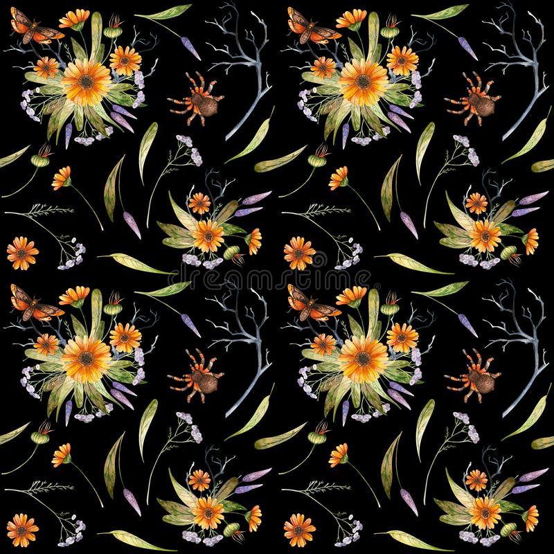 Watercolor Halloween pattern of flowers and butterflies. Watercolor autumn seamless pattern of wild flowers and butterflies on a black background royalty free illustration