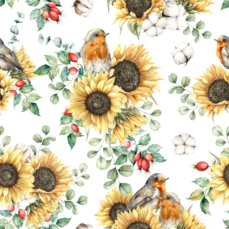 Free Watercolor Autumn Seamless Pattern With Robin Redbreast, Sunflowers, Leaves And Dogroses. Hand Painted Floral Royalty Free Stock Images - 196158159