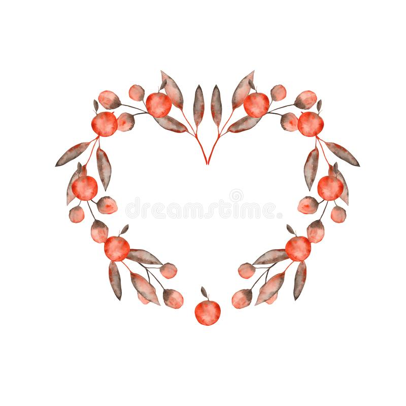 Watercolor autumn set with orange brown leaves and twigs, apples. Ideal for cards and invitations vector illustration