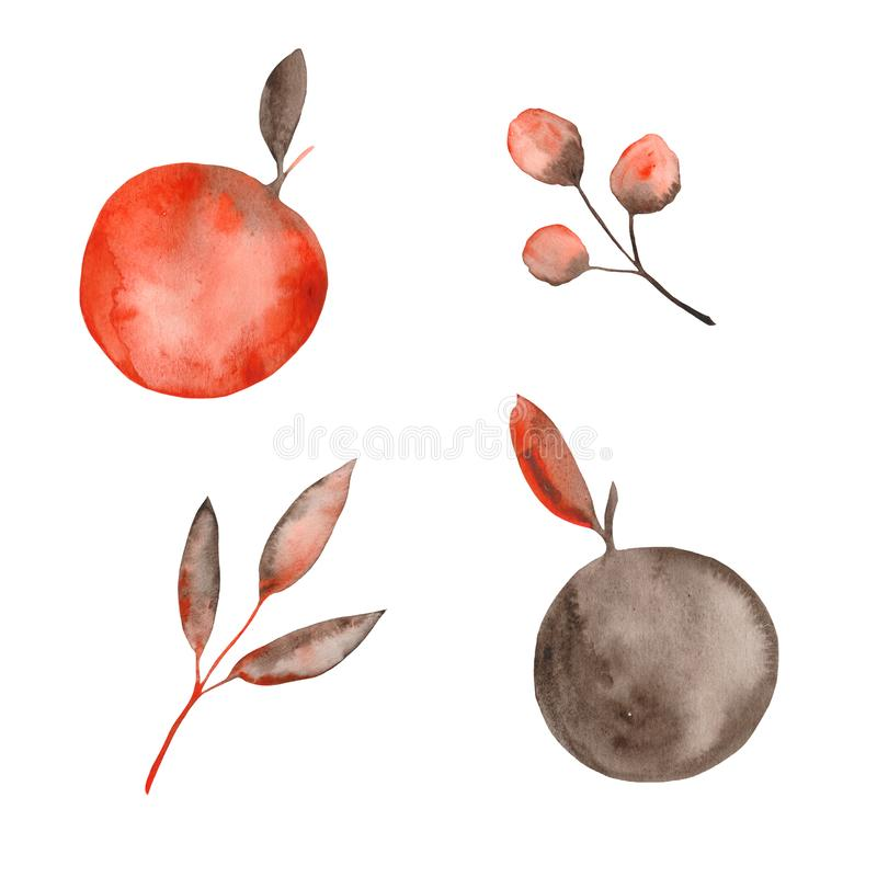 Watercolor autumn set with orange brown leaves and twigs, apples. Ideal for cards and invitations royalty free illustration