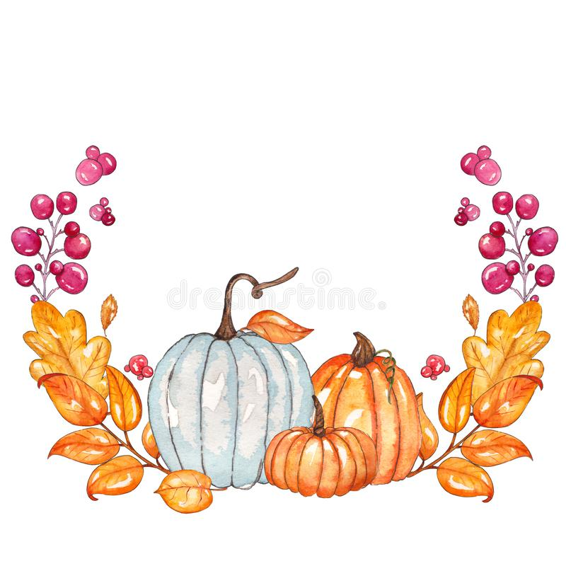 Watercolor autumn template with pumpkins, yellow leaves, berries vector illustration