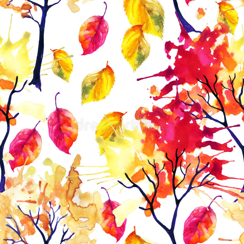 Watercolor autumn trees and leaves seamless pattern royalty free illustration
