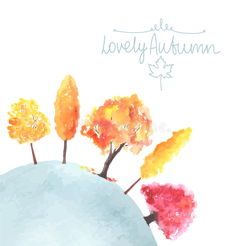 Free Watercolor Autumn Trees Made In Vector Stock Photos - 56935893