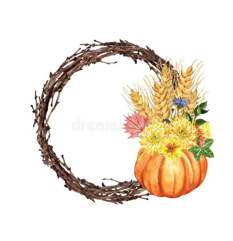 Watercolor autumn wreath, pumpkin, colorful leaves, mums flowers, wheat, isolated on white background. Thanksgiving holiday royalty free illustration