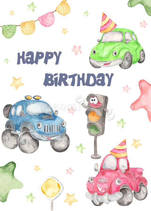 Watercolor baby card with cute truck, beetle and pickup Baby shower. Watercolor card cute cars for a boys. Cartoon illustartions: car beetle, jeep SUV off road royalty free illustration