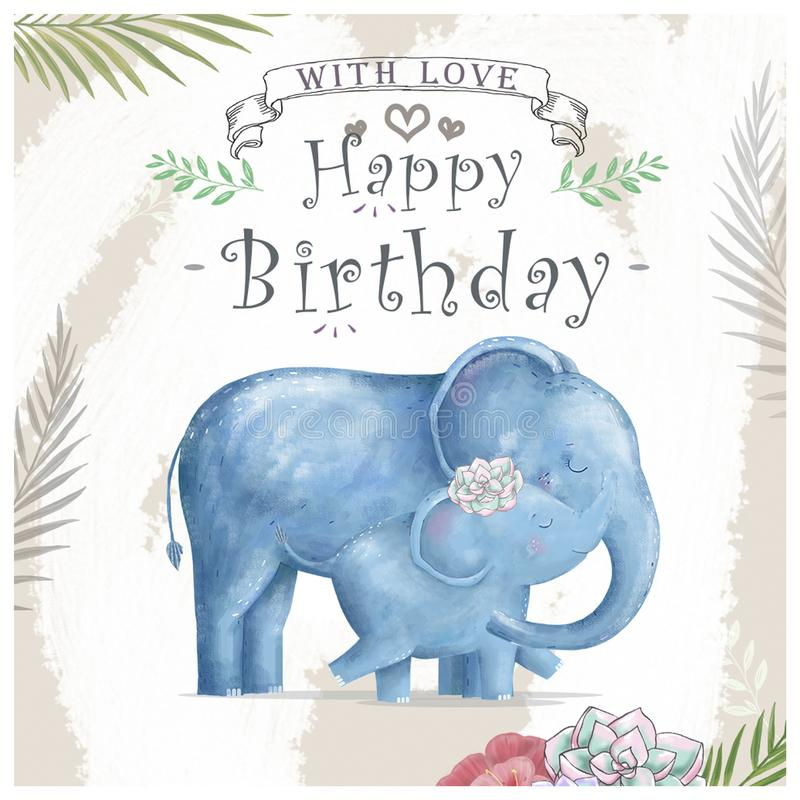 Watercolor baby elephant and mother. Cute Elephants for greeting card, birthday, invite, painting clip art on floral background vector illustration