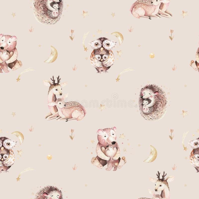 Watercolor baby hedgehog and mother cartoon owls, bear and deer seamless pattern. Woodland cute owl hand drawn kid stock illustration