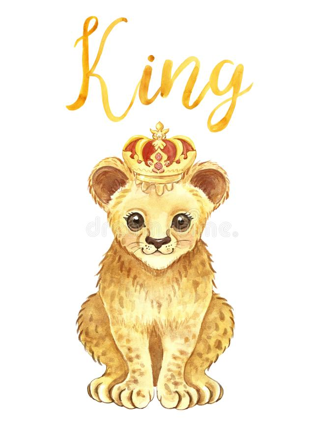 Watercolor baby lion isolated. Cute lion cub in a crown and hand lettering word king on white background. Cartoon illustration royalty free stock image